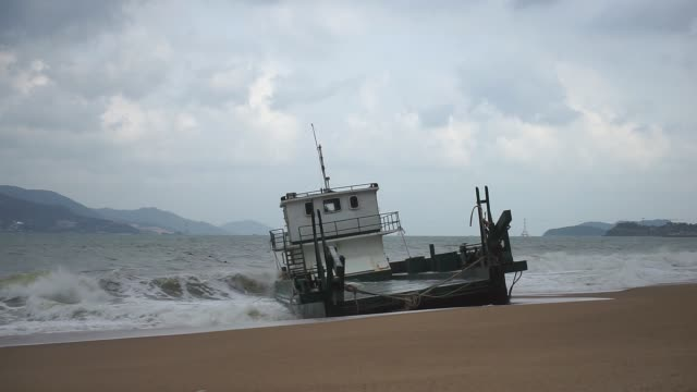 Ship was washed ashore by a storm.