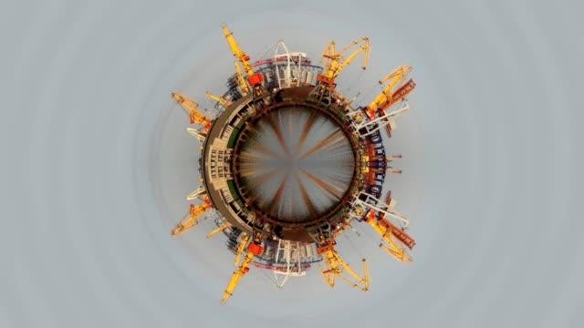 отправка в портах круговой панорамой маленькая планета - tap water стоковые видео и кадры b-roll