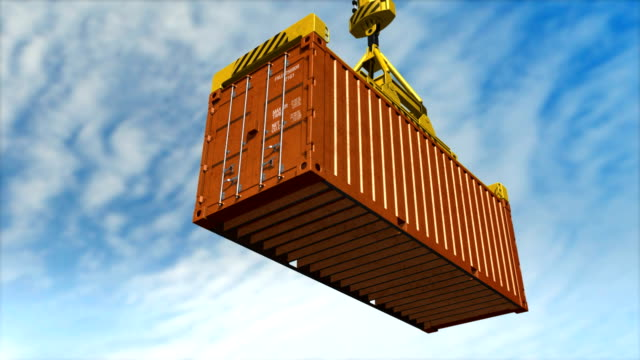 Shipping Container on Crane. Shipping Container on Crane. Distribution Warehouse, Cargo Container, Commercial Dock, Harbour. commercial dock stock videos & royalty-free footage