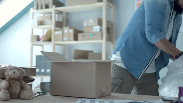shipping online orders - packaging video stock e b–roll