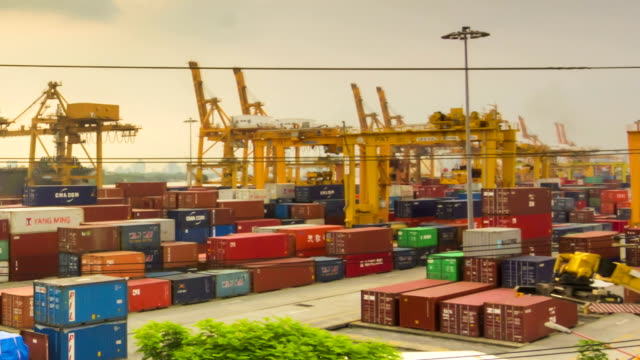 Shipping port in the big city,Panning shot video