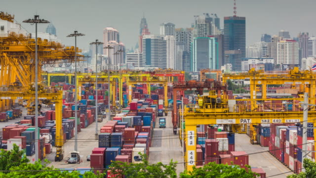 Shipping port in the big city,Time Lapse video