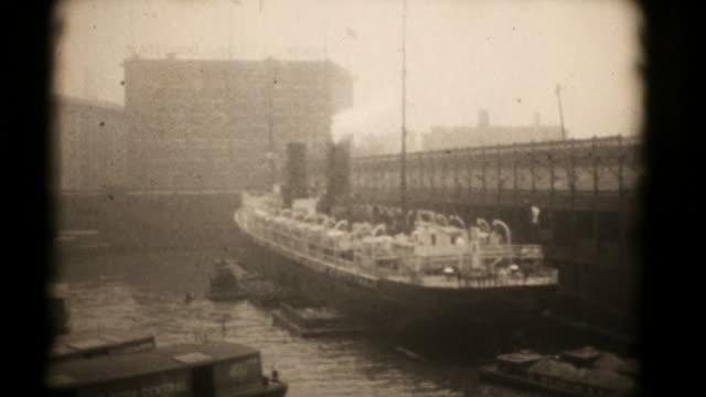 Ships at New York Docks, 1920's 16mm (HD1080) video