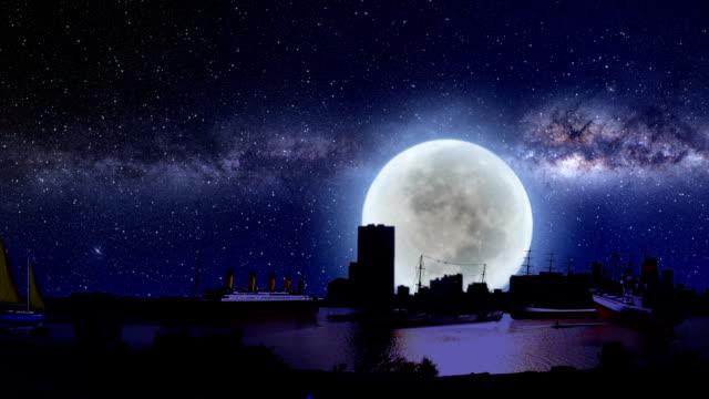 vídeos de stock e filmes b-roll de navios de todos os tipos, em frente ao mar à noite - dia de reis