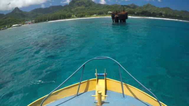 shipwreck avarue raratonga cook islands - погружённый стоковые видео и кадры b-roll