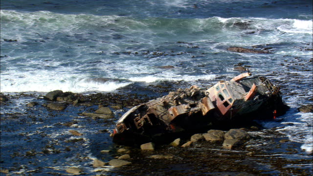 Shipwreck In Hondeklipbaai Harbour  - Aerial View - Northern Cape,  South Africa video