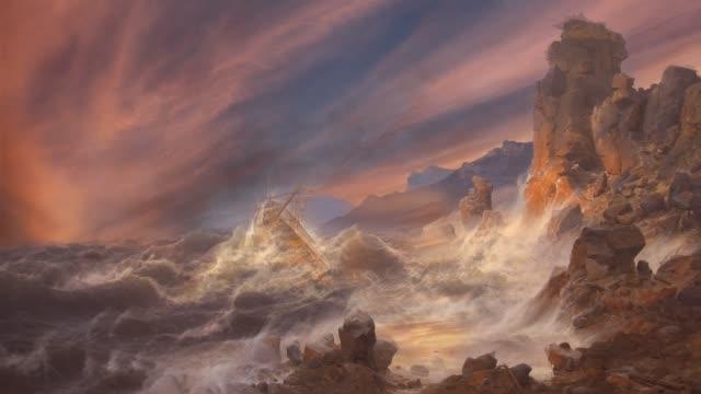 vídeos de stock e filmes b-roll de shipwreck - surrealismo