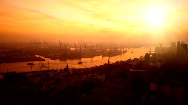 Shipyard in Hamburg at sunset