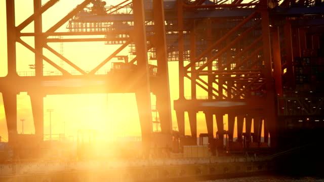 Shipyard in Hamburg with sun, time lapse