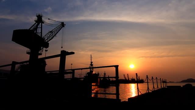 HD: Shipyard in sunset video