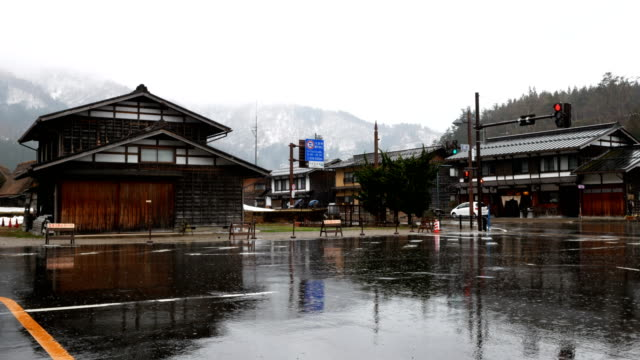 Shirakawa go village during light rain in Japan video