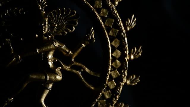 Shiva deity buddhist rotating with smoke on black background video