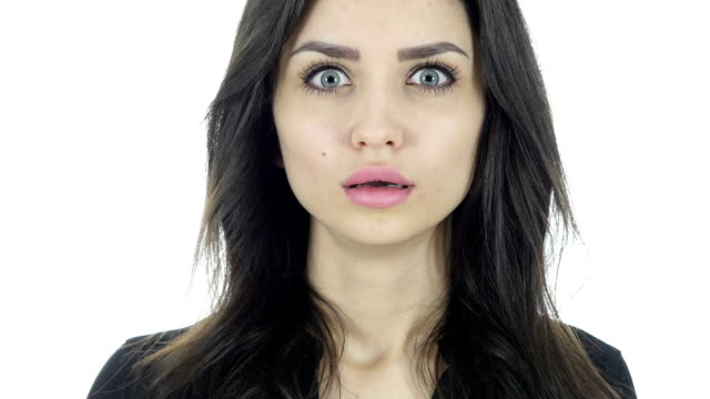 Shock, Upset Beautiful Brunette Woman on White Background video