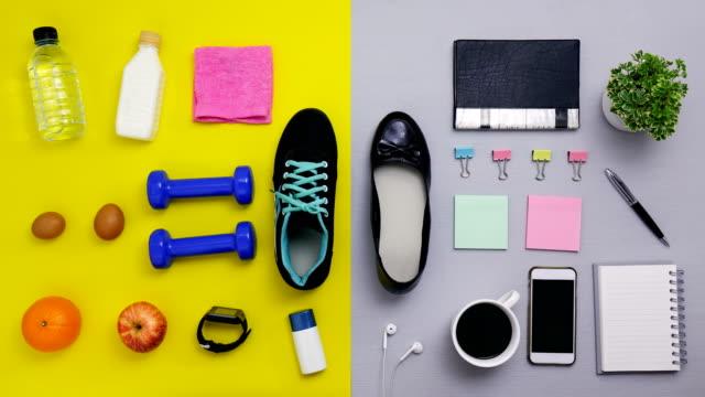 신발 스톱 모션-운동 및 사무실 작업을 위한 개체의 클로즈업 - 스톱 모션 스톡 비디오 및 b-롤 화면