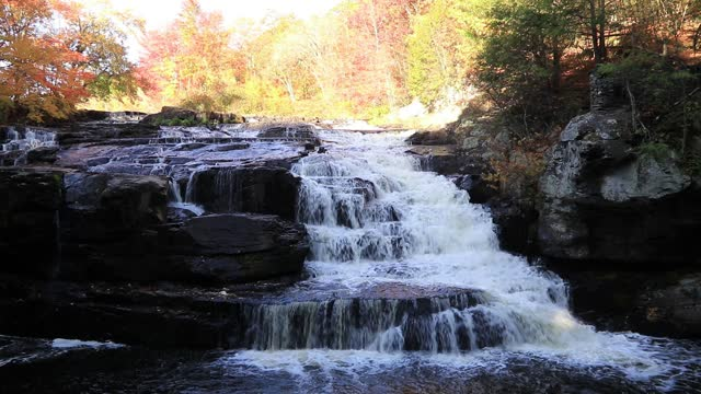 Shohola Falls Downstream in the Fall Poconos PA