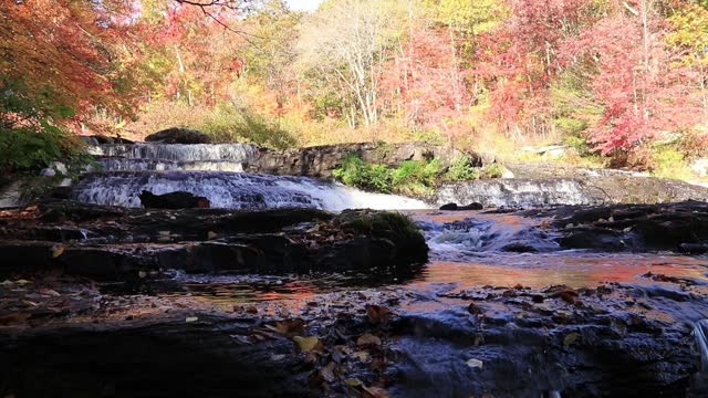 Shohola Falls morning in Autumn middle section Pocono Mountains PA