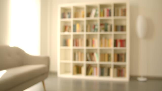 stockvideo's en b-roll-footage met spruit van de boekenplanken met boeken in de bibliotheek binnen in de gezellige ruimte met vage achtergrond - boekenkast