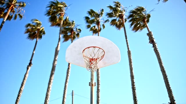 shooting a basketball in Los Angeles
