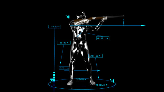 3D Shooting man with technical data