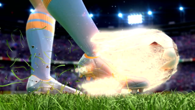 Shooting on goal in slow motion with burning soccer ball video