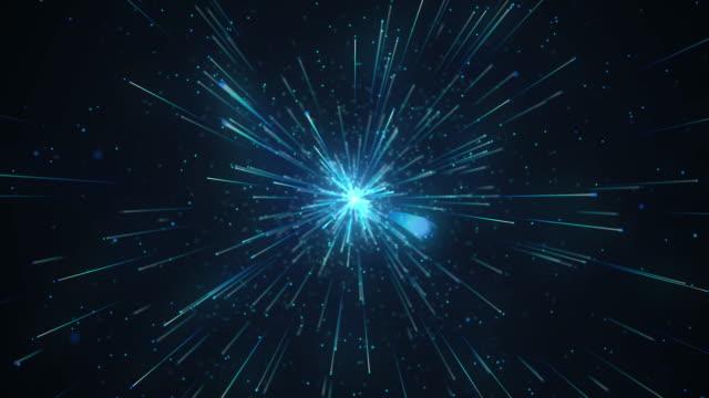 schießen partikel im cyberspace. - verzerrtes bild stock-videos und b-roll-filmmaterial