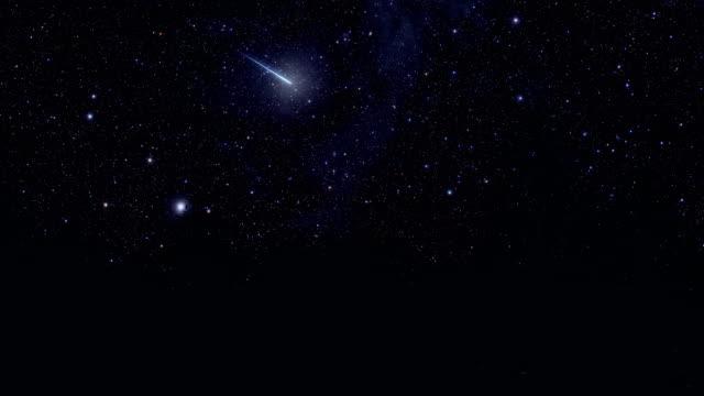 shooting star and starry sky - cielo stellato video stock e b–roll