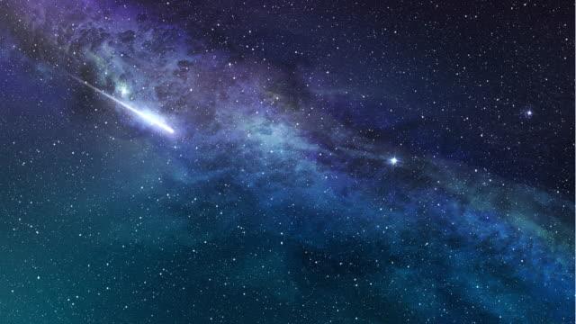 shooting star in starry sky