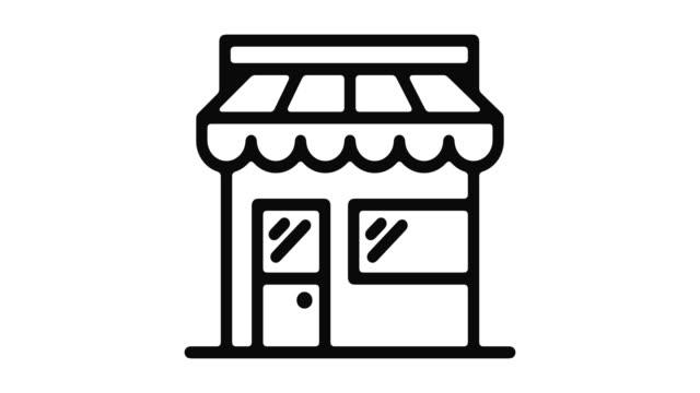 vídeos de stock e filmes b-roll de shop line motion graphic - shop icon