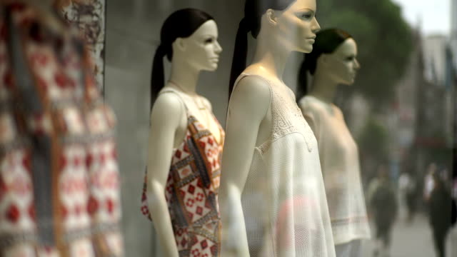 Shop window display of women's clothes. video