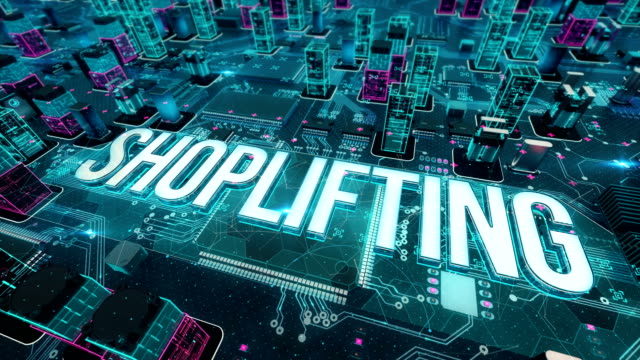 Shoplifting with digital technology concept