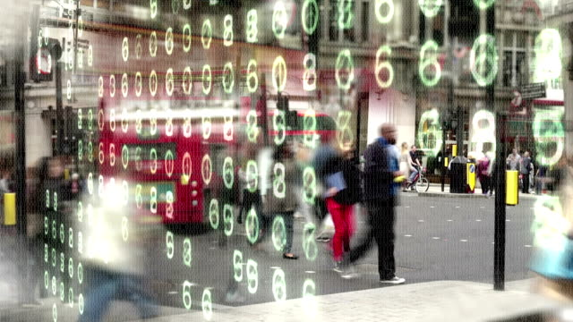 Shoppers with binary code and numbers. Busy, impressionistic city shopping street scene made from ones and zeros and overlaid with glowing computer numbers. consumerism stock videos & royalty-free footage