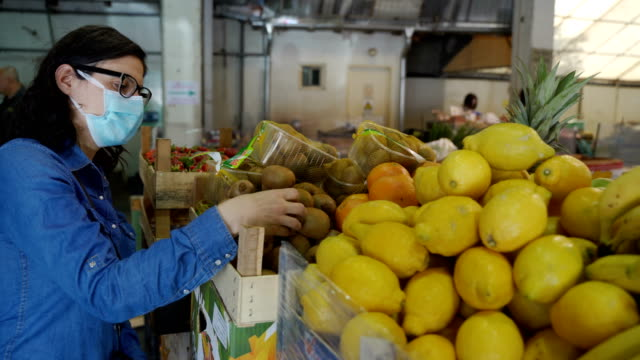 shopping at the market with protective face mask video
