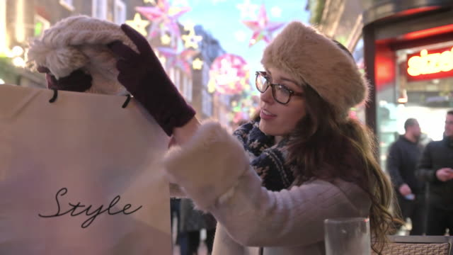 shopping bag cafe - london fashion stock videos and b-roll footage