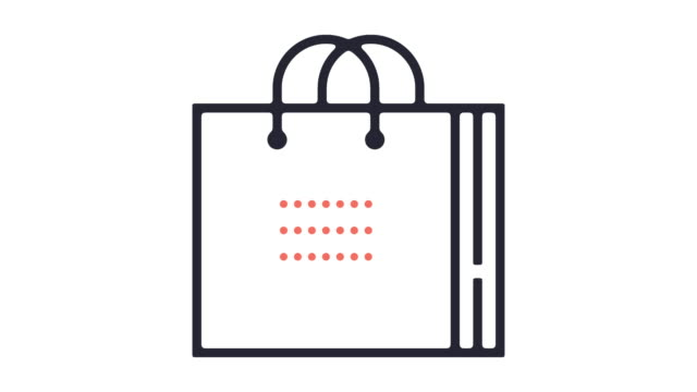 shopping bag icon animation - borsa della spesa video stock e b–roll