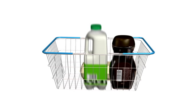 Shopping Basket Filling with Items Wire shopping basket filling up with generic shopping items. Labels made from scratch so no copyright issues. Last 300 frames loop. inflation stock videos & royalty-free footage