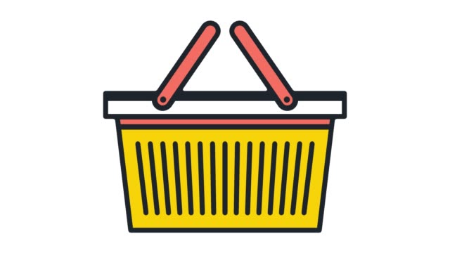 Shopping Basket Online Flat Line Icon Animation with Alpha