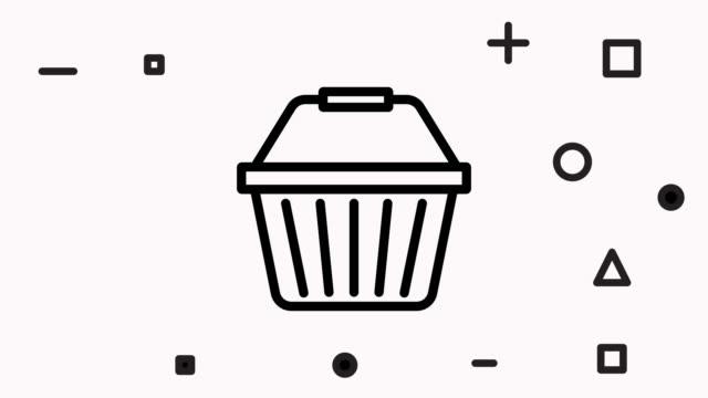 vídeos de stock e filmes b-roll de shopping basket online line icon animation with alpha - shop icon
