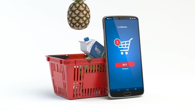 白で切り離された新鮮な食べ物を持つ買い物かご。食料品のスーパーマーケット、食べ物、オンライン購入と配達の概念を食べます。3dビデオアニメーション - クレジット決済点の映像素材/bロール