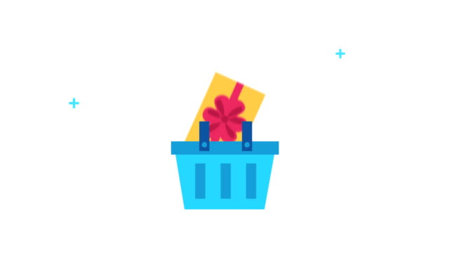 shopping basket with gift icon - cestino video stock e b–roll