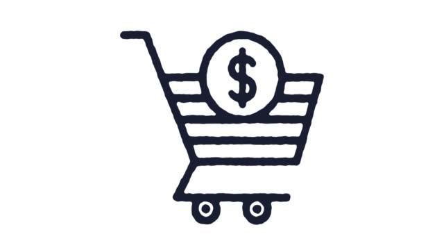 vídeos de stock e filmes b-roll de shopping cart icon animation footage & alpha channel - shop icon