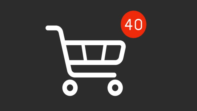 shopping cart icon with counter added online commodity on gray background animation shopping cart icon with counter added online commodity on gray background. 4k footage with alpha matte shopping cart stock videos & royalty-free footage