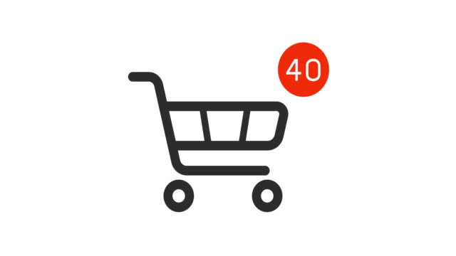 shopping cart icon with counter added online commodity on white background animation shopping cart icon with counter added online commodity on white background. 4k footage with alpha matte shopping cart stock videos & royalty-free footage