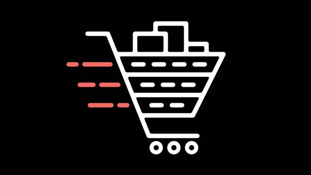 vídeos de stock e filmes b-roll de shopping cart software line icon animation with alpha - shop icon