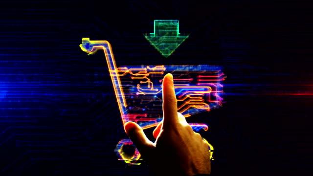 il carrello della spesa simboleggia l'enetry futuristico nell'animazione del cyberspazio - commercio elettronico video stock e b–roll