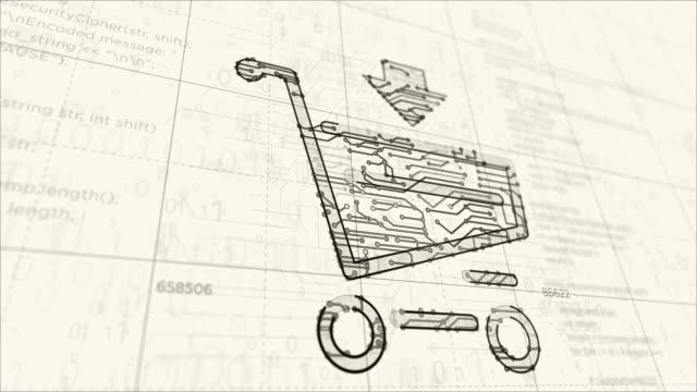 vídeos de stock e filmes b-roll de shopping cart symbol futuristic sketch - shop icon