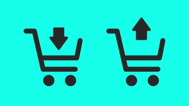 vídeos de stock e filmes b-roll de shopping cart - vector animate - shop icon