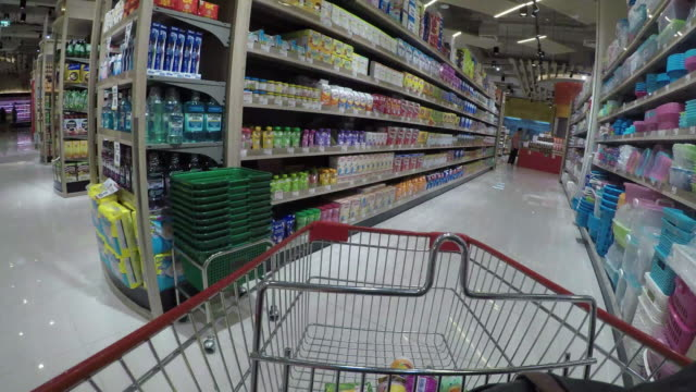Shopping Cart view of Grocery time lapse. video