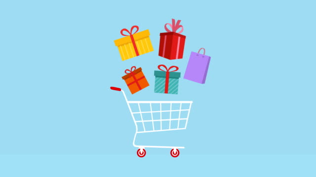 Shopping cart with gifts Animation, Alpha matte.