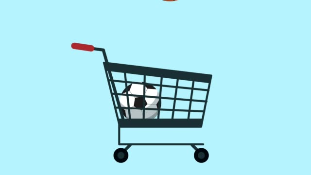 shopping cart with sports equipment video