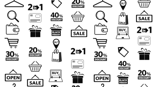 shopping icons set - black friday стоковые видео и кадры b-roll